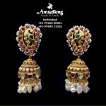 Peacock Antique Gold Earrings With Stones and Pearls