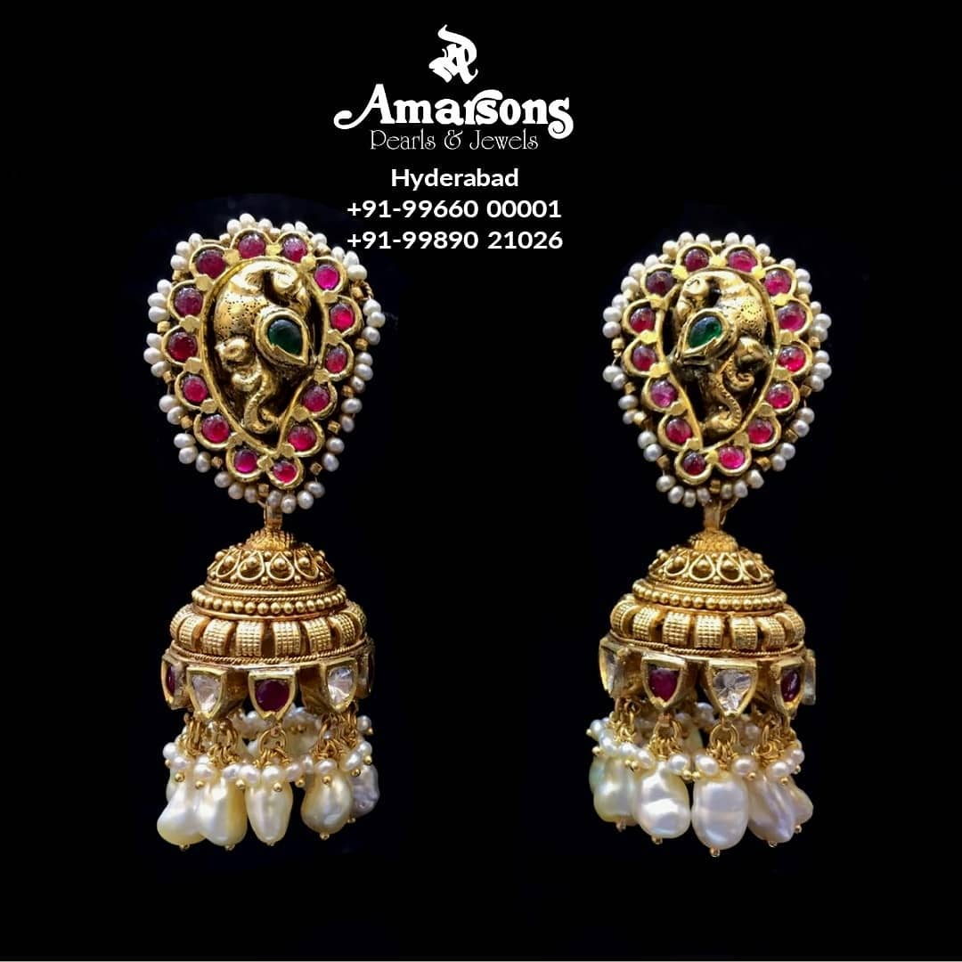 peacock-antique-gold-earrings-with-stones-pearls