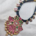 Pure Silver Gold Plated Black Thread Necklace