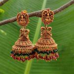 Beautiful Crystal Beads Lakshmi Jhumkas