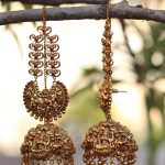 Big Bridal Antique Jhumkas With Ear Chains
