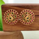 South Indian Red and Green Kemp Peacock Ear Studs