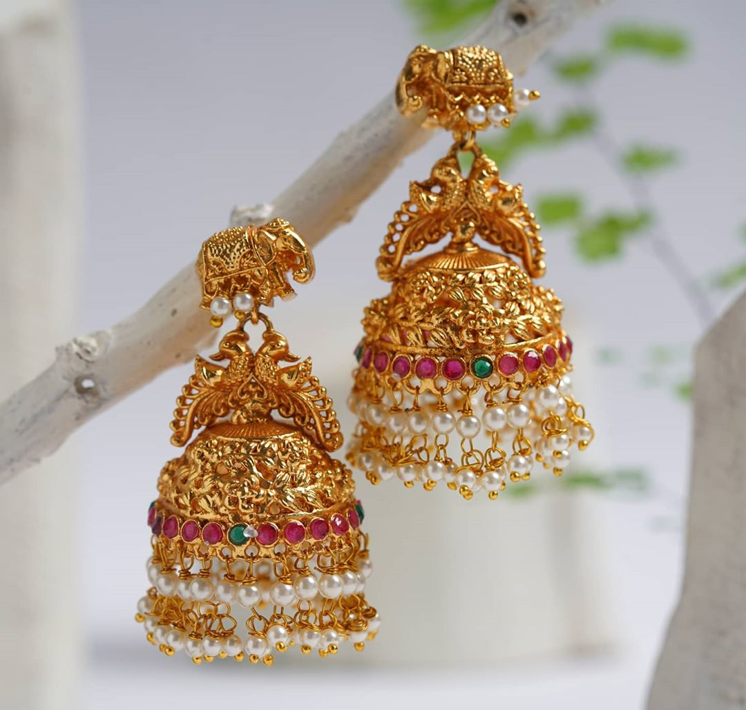 elephant-peacock-antique-jhumkas