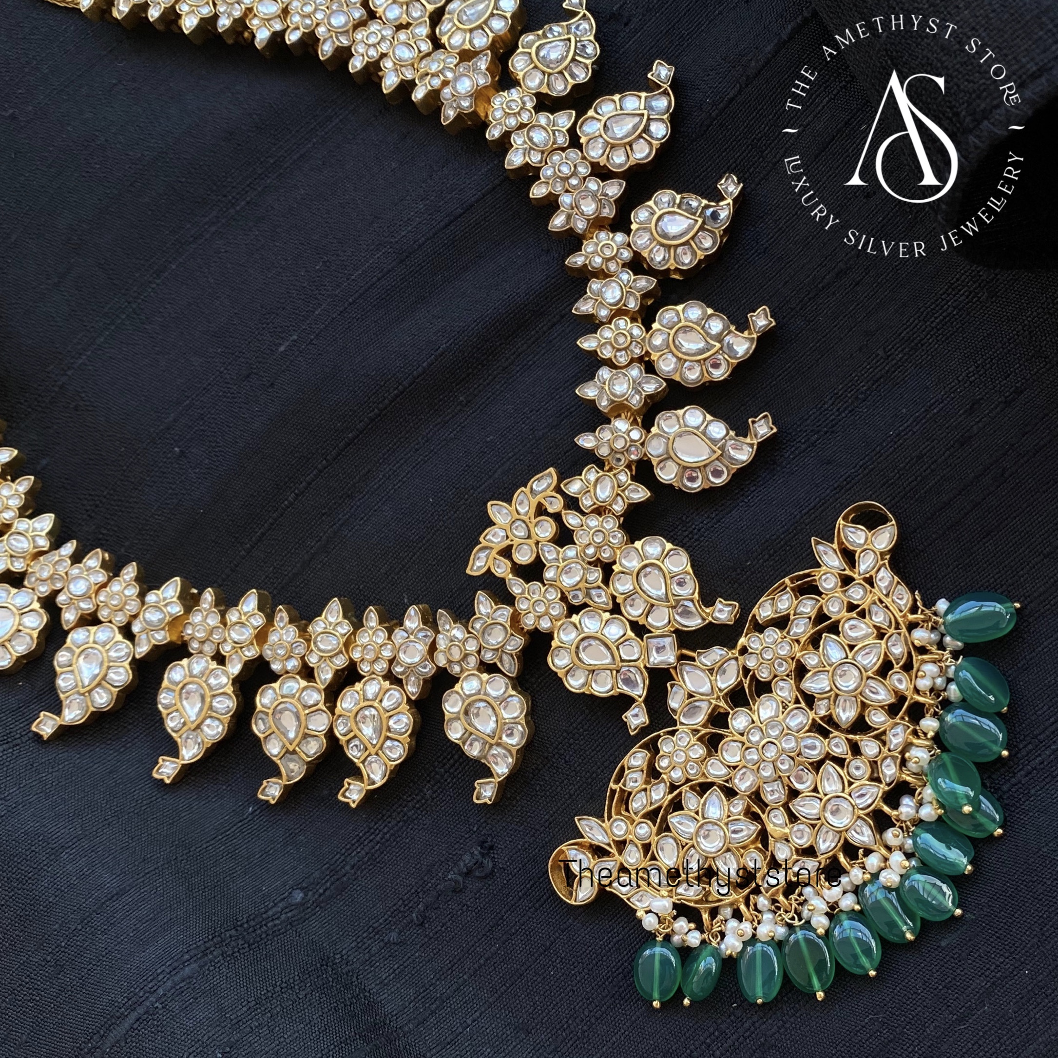 gold-plated-pure-silver-semi-precious-stones-studded-necklace