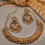 Gold Temple Necklace and Lotus Chandbalis