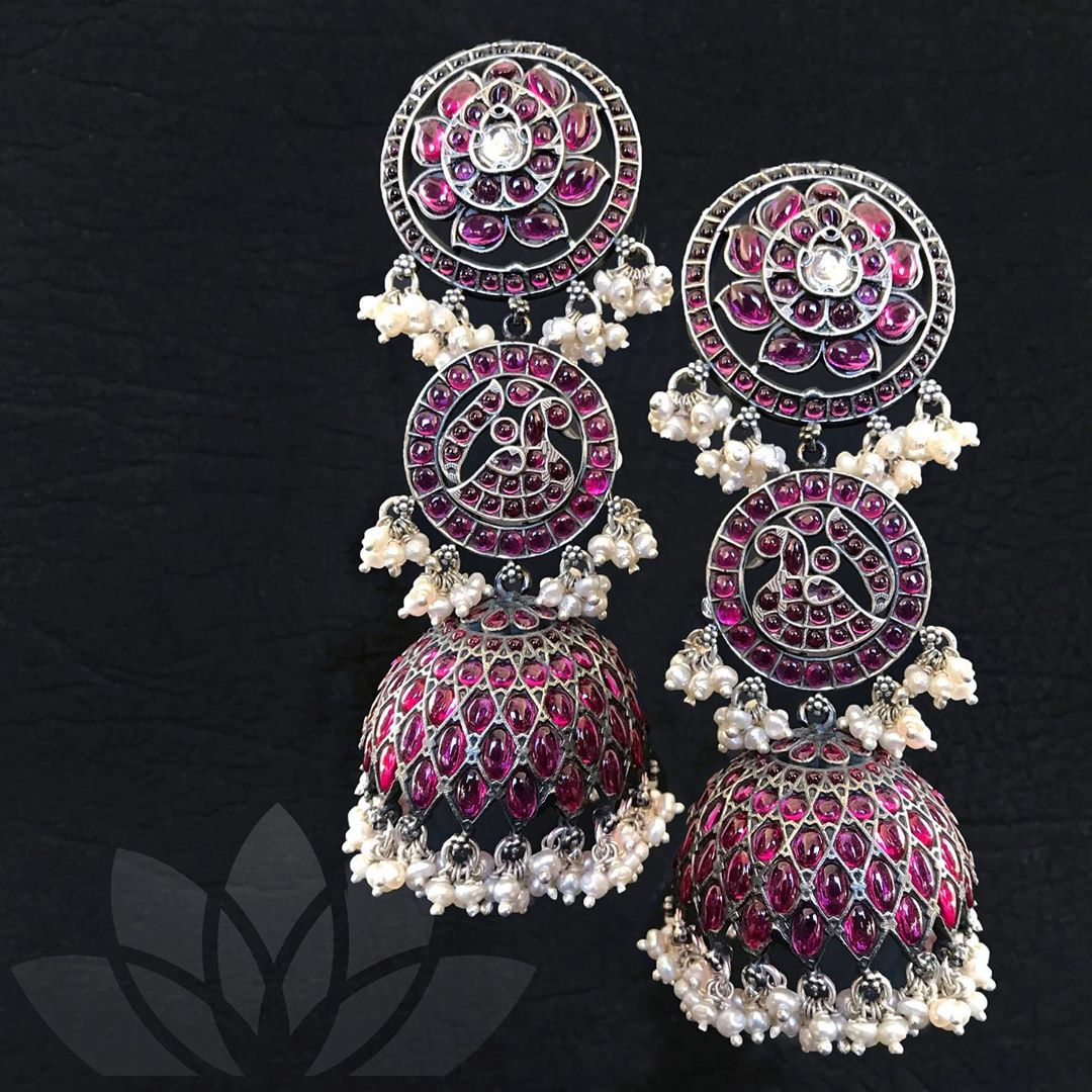kemp-pearls-three-layer-silver-jhumkas