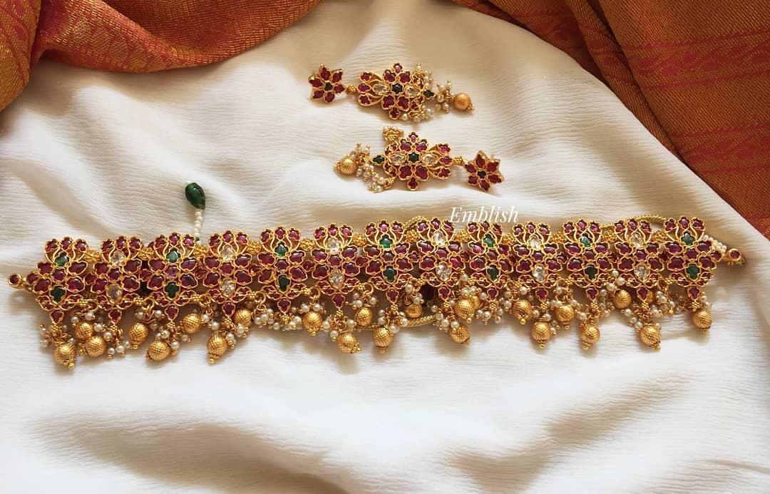 kemp-uncut-stones-dual-beads-high-neck-choker