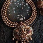 Lakshmi Temple Necklace With Matching Jhumkas