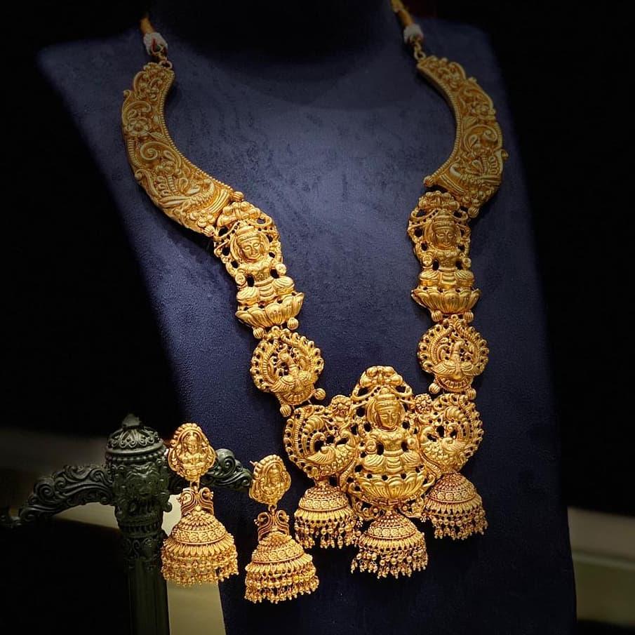 nagas-work-lakshmi-temple-long-haram-earrings
