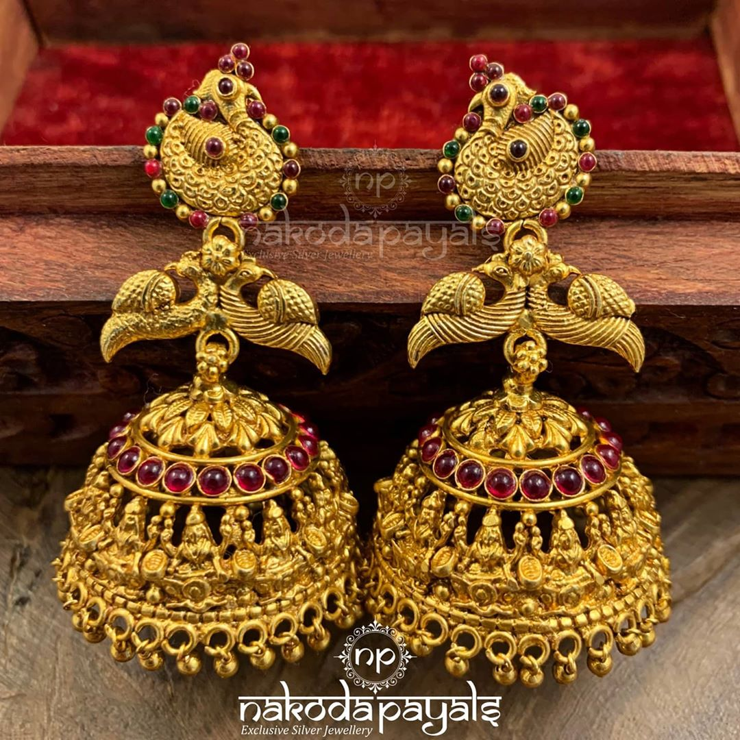 pure-silver jhumki-with-22kt-gold-polish