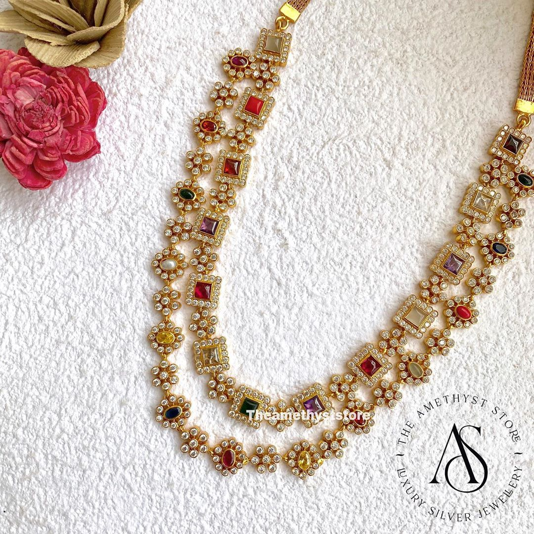 silver-gold-plated-necklace-studded-with-semiprecious-gemstones