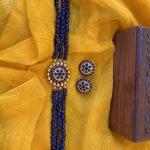 Agate Beads Navy Blue Kemp Choker