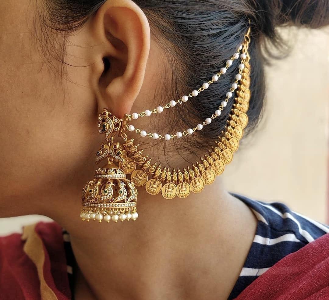 Designer-Jhumkas-with-Lakshmi-Coin-Mattals-01