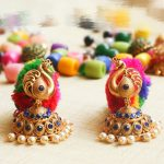 Imitation Blue Stone Peacock Jhumkas
