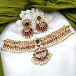 South Indian Style Ruby and Green Stone Choker