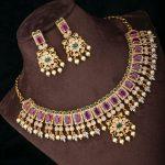 Antique Polish Square Rubies Necklace