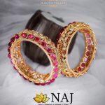 Designer Antique Bangles With Colour Stones