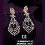 Diamond Emerald Hanging Earrings