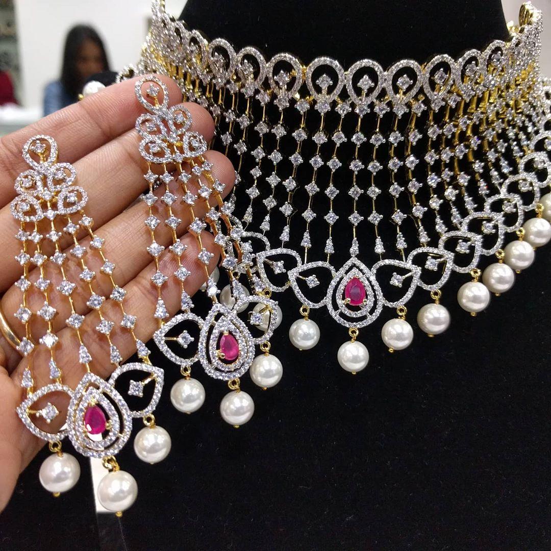 diamond-rubies-finish-choker-necklace-set