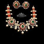 Floral Design Silver Necklace Set
