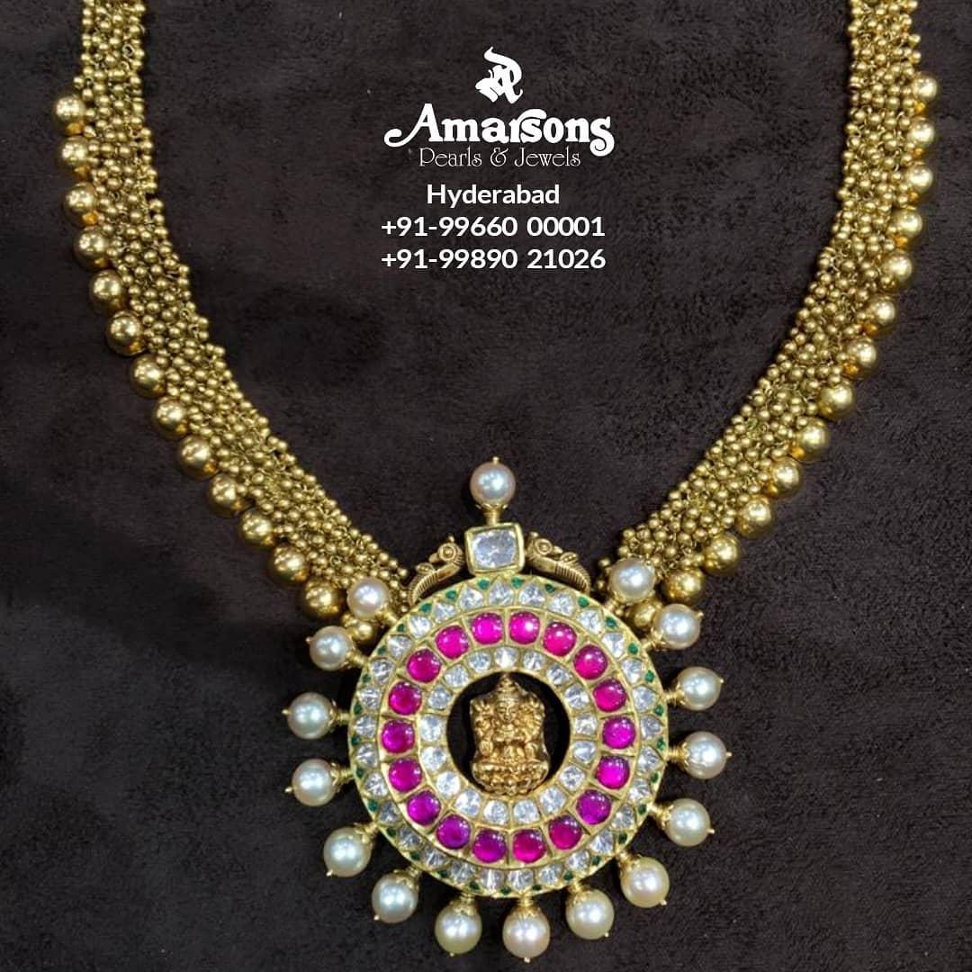 gold-ball-chain-kundan-pendant