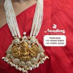 Gold Lakshmi Locket With Uncut Diamond And Pearls