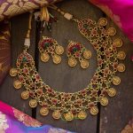 Gold Look Alike Pearl Layered Coin Laxmi Necklace