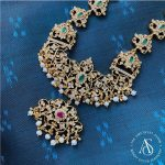 Gold Plated Silver Necklace With Studded Semi Precious Stones