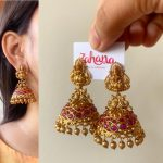 Lakshmi Ruby Matte Umbrella Jhumkas