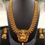 Long Matte Temple Mango Necklace And Jumkha