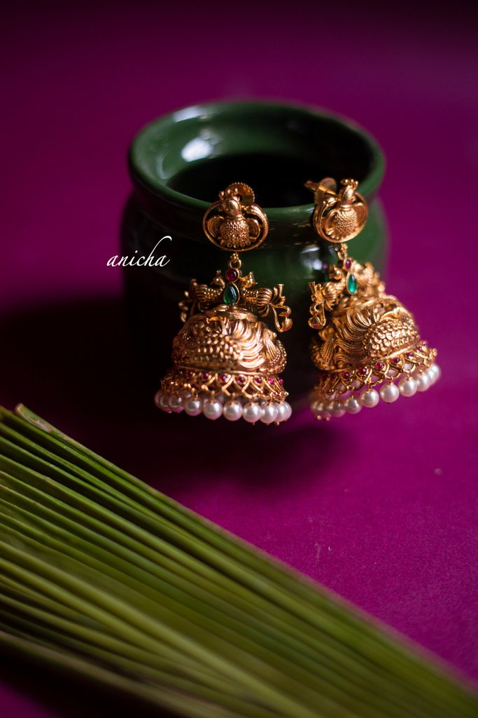 matte-gold-finish-antique-jhumkas