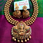 Multilayer Matte Temple Necklace Jhumkas