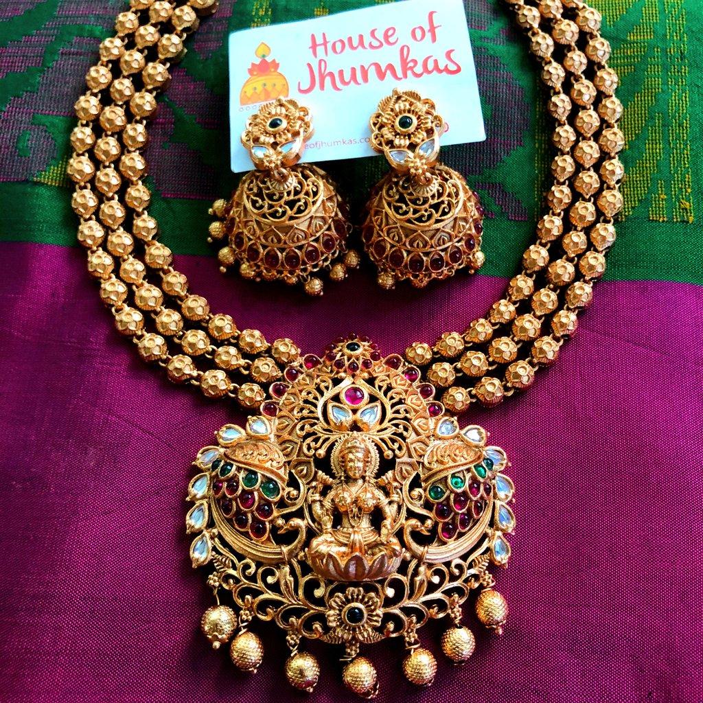 multilayer-matte-temple-necklace-jhumkas