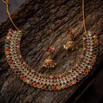 Navaratna Necklace With Matching Jhumkas