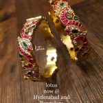 Pure Silver Gold Plated Stone Studded Bangles
