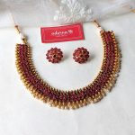Ruby Stone And Pearls Necklace Set