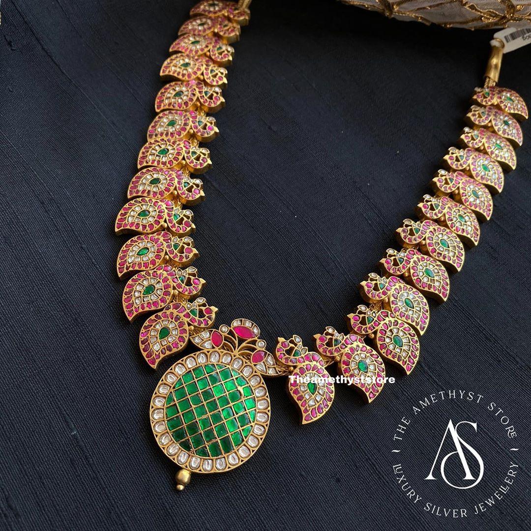 silver-gold-plated-semi precious-gemstones-necklace