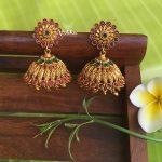 Floral Design Multi Stone Jhumkas