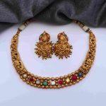 Gorgeous Matte Finish Navarathna Stone Necklace