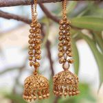 Grand Bridal Jhumkas With Ear Chains