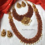 Cluster Ruby Beads Temple Bridal Set