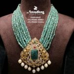 Emerald Mala With Gold Pendant