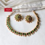 Green Stone and Pearl Necklace Set