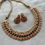 Guttaspusalu Pearl Lakshmi Coin Necklace and Jhumkas