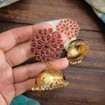 Kemp Stone Studded Golden Jhumka