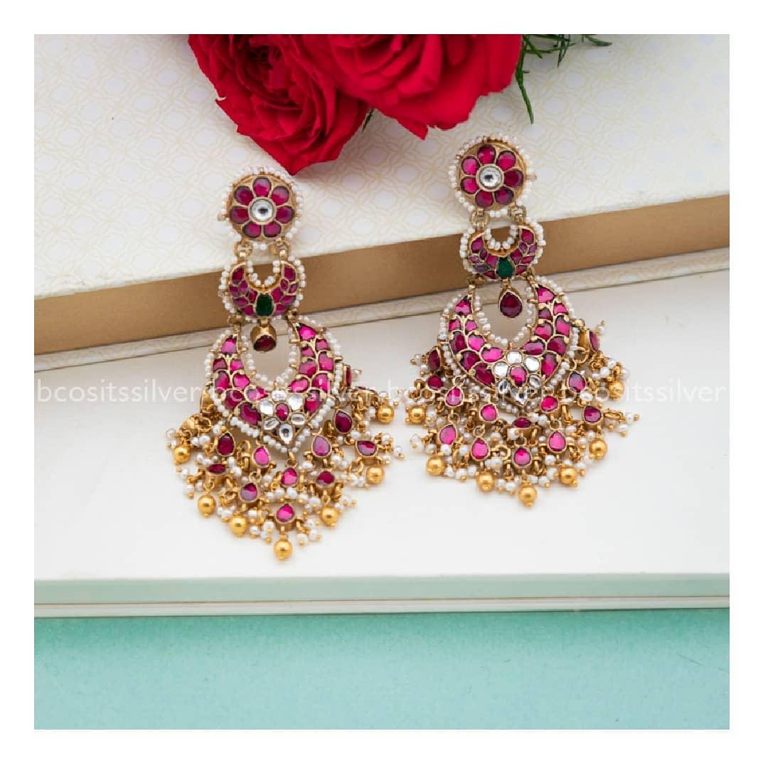 kundan-silver-earrings