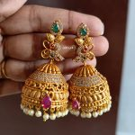 Matte Gold Alike Peacock Jhumkas
