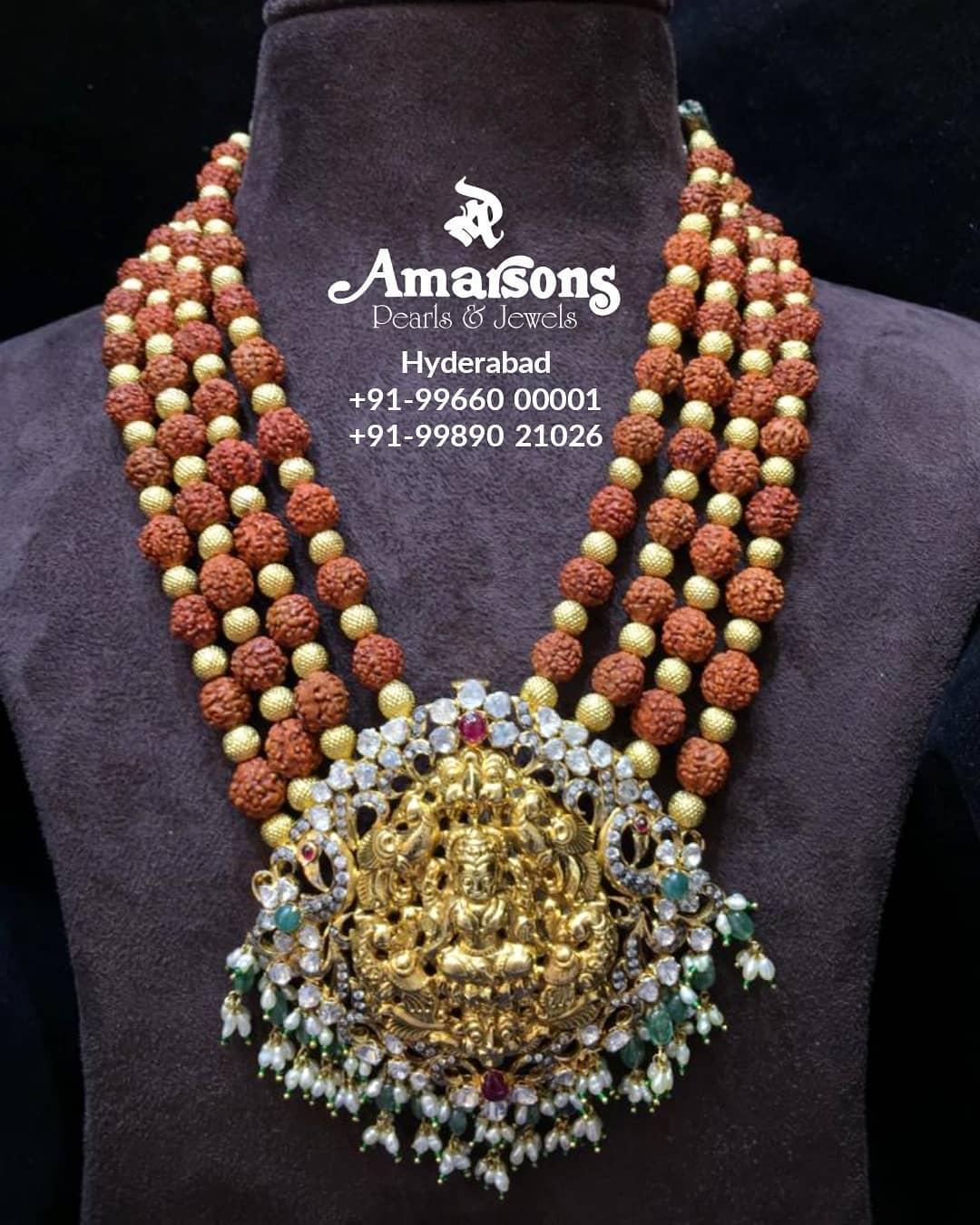 polki-gold-lakshmi-locket-rudraksh-mala