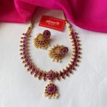 Purple Stone Kemp Necklace With Jhumkas