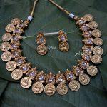 AD Matte Ganehsa Lakshmi Coin Necklace